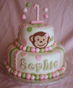Super cute pink, mint green and white girl's 1st birthday cake