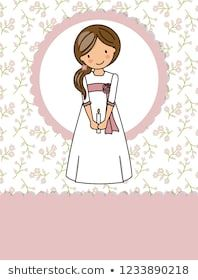 my first communion girl. Little girl in a communion dress, a candle and flower background Page Borders Design, Border Design, Girl Clipart, Medical Illustration, Art Icon, First Holy Communion, Communion Dresses, Love Craft, Eucharist
