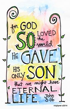 Illustration Print John 316 by nicplynel on Etsy Learn Biblical Spanish with http://learnspanishthroughbible.blogspot.com Try it, practice it and happy learning.  Blessings.