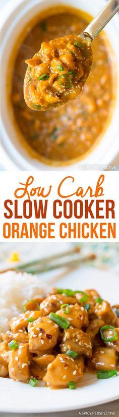 Low Carb Slow Cooker Orange Chicken #healthy #glutenfree