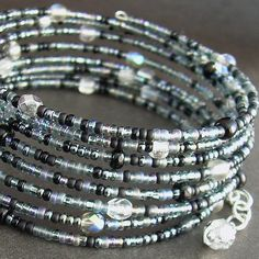 Witches' Brew Memory Wire Bracelet Grey & Black by cindylouwho2