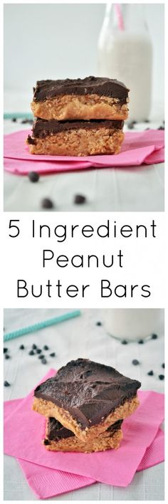 All you need is 5 simple ingredients to make these healthier peanut butter bars. Vegan, gluten free and grain free! You will want to eat them all! I would substitute the peanut butter with almond butter instead. Gluten Free Desserts, Vegan Desserts, Raw Food Recipes, Sweet Recipes, Delicious Desserts, Dessert Recipes, Keto Recipes, Vegetarian Recipes, Healthy Recipes