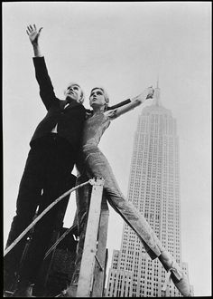 Andy Warhol and Edie Sedgwick in front of the Empire  State Building by David McCabe