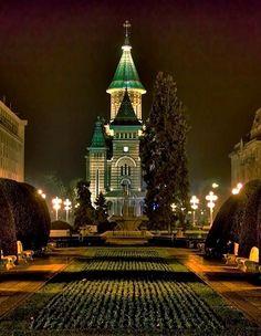 Metropolitan Cathedral at night - Timișoara, Romania Timisoara Romania, Republic Of Macedonia, Bucharest, Albania, Cathedrals, Montenegro, Homeland, Empire State Building, Strand