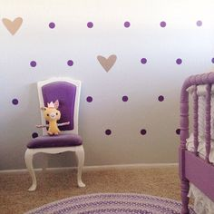 Workin on my 5 year old's bedroom, she requested purple polka dots 💜 I added the gold hearts and love how it's coming together. 👉My cutter/design + vinyl from only used 2 sheets of each color for the whole wall. Purple Bedrooms, Big Girl Bedrooms, Little Girl Rooms, Baby Bedroom, Girls Bedroom, Bedroom Ideas, Nursery Ideas, Master Bedroom, E Room