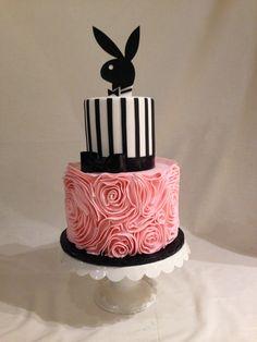 Bridal Shower cake | fondant | fondant ruffles | stripes | playboy bunny | pink | black | white