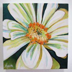 Mini Painting White Zinnia Original 8x8 by MaritaGentry on Etsy