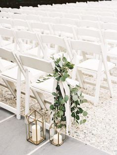 Greenery Wedding Ideas That Are Actually Gorgeous---outdoor wedding ceremony with white chairs with greenery eucalyptus and lantern candles wedding ceremony Wedding Ceremony Ideas, Wedding Aisle Outdoor, Wedding Aisle Decorations, Wedding Centerpieces, Wedding Bouquets, Wedding Flowers, Church Decorations, Decor Wedding, Ceremony Backdrop