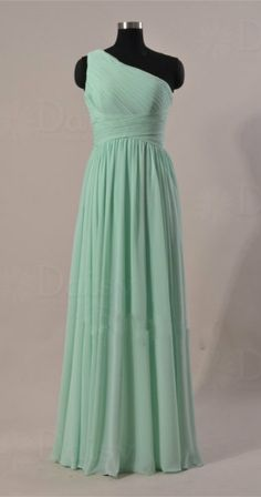 Dark Mint Bridesmaid Dress, One Shoulder Long Chiffon Bridesmaid Dress