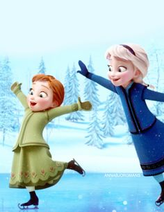 "*ANNA & ELSA ~ Frozen, 2013....""Their beautiful,Elsa - but you know I don't skate.""  ""Oh,come on! You did it before!"""
