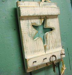 Key Rack Jewelry Rack in Weathered Shutter Wood by CastawaysHall, $34.00