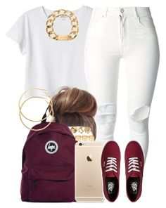 """""""White and Burgundy."""" by livelifefreelyy ❤ liked on Polyvore featuring Monki, (+) PEOPLE, Vans, Hype, Michael Kors, H&M, ASOS and River Island"""