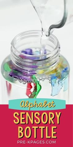 An easy alphabet sensory bottle you can make for your preschool or pre-k classroom. Make learning the letters of the alphabet fun! Kids Learning Activities, Alphabet Activities, Sensory Activities, Preschool Ideas, Toddler Activities, Teaching The Alphabet, Alphabet Book, Alphabet Letters, Sensory Tubs