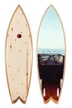Beautiful wooden surfboard created by shaper Danny Hess and artist Kim Cogan