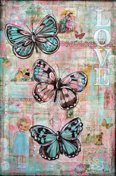 Becca's Dollhouse Art Studio: Patchwork Blooms/Dolly Daydreams - notice the cute paper doll in lower left corner Decoupage Vintage, Vintage Paper, Decoupage Art, Butterfly Wallpaper, Butterfly Art, Butterflies, Kunstjournal Inspiration, Art Journal Inspiration, Art Journal Pages