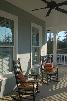 Front porches with ceiling fans