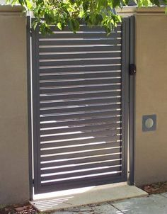 For Colorbond steel or aluminium fencing & electric gates contact Superior Screens, Australia's leaders for fencing & gates for all uses. Iron Garden Gates, House Gate Design, Front Door With Screen, Entrance Gates, Entrance Gates Design, Gate Designs Modern, Front Gate Design, Garden Doors