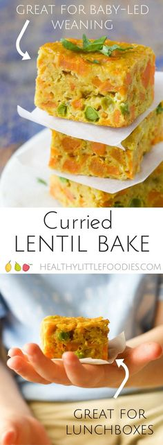 Curried Lentil bake, a perfect finger food making it great for baby-led weaning (blw) Great for the lunch box. via @hlittlefoodies