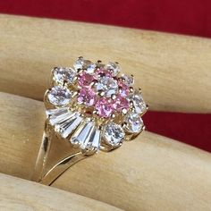 Vintage 2.5CT White Sapphire & 0.5CT Pink Sapphire .925 Sterling Silver Gold Plated Ring DBB007 | We combine shipping | No Question Refunds | Bid $60 for free shipping. Starting at $1