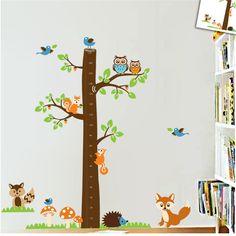 fox owls growth chart wall stickers kids bedroom decorative decals cartoon animals tree mural art #Affiliate