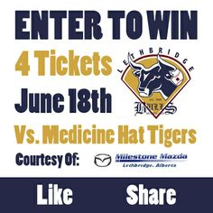 We're giving away 4 tickets to a Lethbridge Bulls game over on our Facebook page!   https://www.facebook.com/pages/Milestone-Mazda/44232694649?ref=hl