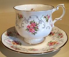 Queens Rosina Pink And Yellow Floral Pattern Tea Cup And Saucer
