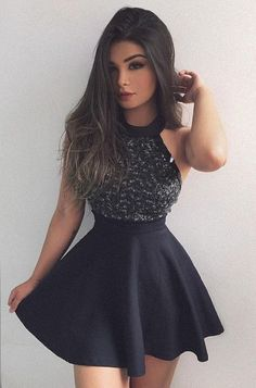 little black dresses, short mini homecoming dresses, black homecoming dresses with beaded, fashion, women's fashion Graduation Dress,Party Dress