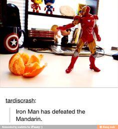 Iron Man has defeated the Mandarin.