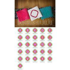 "Chic Embossed Monogram Alphabet Designs by JuJu 4"" (4x4) 5"" (5x7) 6"" (6x10) 7"" (8x8)"