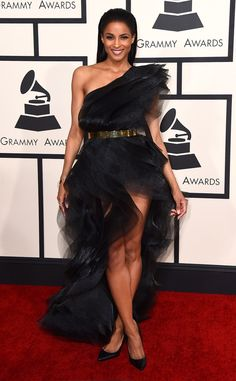 Ciara from 2015 Grammys. I hate the belt but the structure of the dress is gorgeous and for that reason she makes it on the best dressed list. Love! Love! Love!