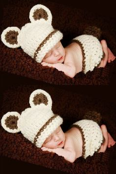f49f979c260 New Born Photo Prop Costume Infant Baby Bear Cub Crochet Knit