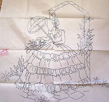 vintage embroidery transfer crinoline lady walks along cottage garden path Embroidery Transfers, Hand Embroidery Designs, Vintage Embroidery, Embroidery Stitches, Embroidery Patterns, Silk Ribbon Embroidery, Rangoli Designs, Textiles, Hand Stitching