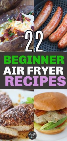 22 easy air fryer recipes for new air fryer users. You'll love these air fryer recipes for beginners for dinner, lunch, breakfast, and snack. Most are healthy air fryer recipes too! Air Fryer Recipes Snacks, Air Frier Recipes, Air Fryer Dinner Recipes, Air Fryer Quick Recipes, Air Fryer Recipes Gluten Free, Air Fryer Recipes Breakfast, Air Fryer Rotisserie Recipes, Airfryer Breakfast Recipes, Air Fryer Chicken Recipes