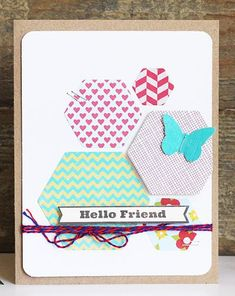 Hello Friend Card by Becky Williams using Jillibean Soup's Neopolitan Bean Bisque Collection, Soup Labels, and Baker's Twine (via the Jillibean Soup blog).