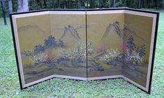Vintage Asian Silk Folding Screen Room Divider by PanchosPorch