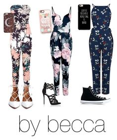 """jumpsuits"" by becca0416 ❤ liked on Polyvore featuring Miss Selfridge, Boohoo, Warehouse, Giuseppe Zanotti, Casetify and Converse"