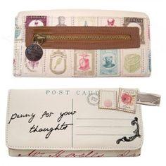 Bonita billetera con forma de carta. Muy vintage.  Vintage postcard wallet.