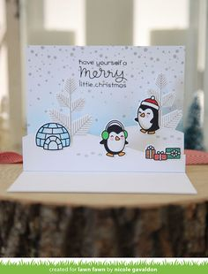 the Lawn Fawn blog: Lawn Fawn Intro: Snow Cool & Stitched Hillside Pop-up Card by Nicole Gavaldon.