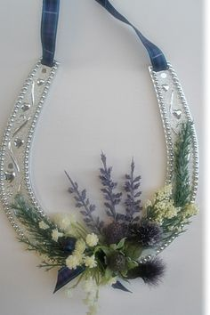 Silver Horseshoe Heather Flowers Pride of Scotland Tartan2