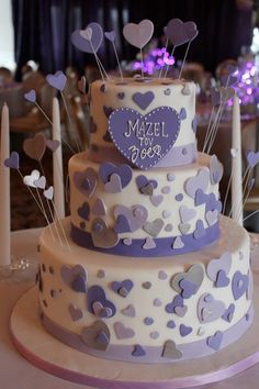 Purple themed Bat Mitzvah cake with hearts to match the invitation design. #sweetlisas #batmitzvah #cakes