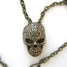 heart skull silver necklace - Google Search
