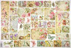 Rice Paper for Decoupage Decopatch Scrapbook Craft Sheet Flowers ABC