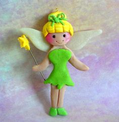 Polymer Clay Milestone/Christmas Ornament/Cake Topper Tinkerbell Peter Pan. $11.50, via Etsy.