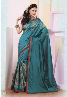 $ 79.30 Blue Silk Saree 21856 With Blouse