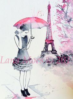 Pink Parisian Fashion Watercolor Illustration Print by LanasArt
