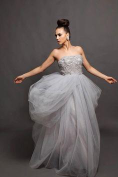 Wedding Gown-- Grey wedding dress - Alva Beaded Lace Bodice tulle Wedding Gown -- $1,590.00 #Etsy