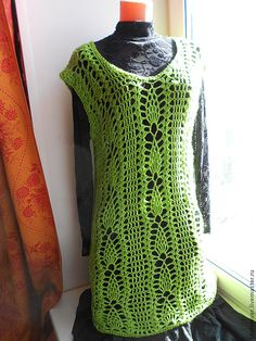 women dress tunic boho crochet Asparagus by idafrompushkin on Etsy