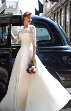 lace wedding dress, love the sleeves and neckline