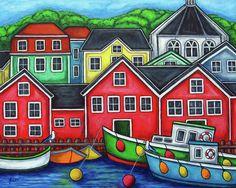 Colours Of Lunenburg - Nova Scotia, Canada ~ Lisa Lorenz Wall Art Prints, Fine Art Prints, Arte Pop, Naive Art, Illustrations, Kitsch, Art Lessons, Home Art, Paint Colors