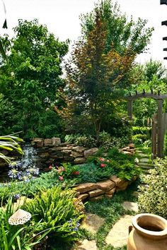 Lush Outdoor Oasis With Flagstone Walkway and Waterfall - Stairs - Garden / Yard - Waterfall / Fountain / Water Feature